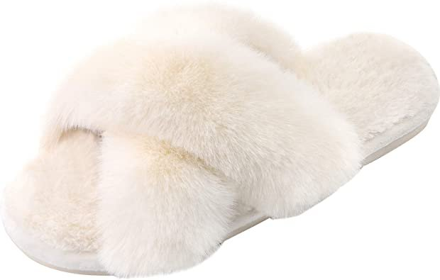 Amazon.com   Women's Cross Band Slippers Soft Plush Furry Cozy Open Toe House Shoes Indoor Outdoor Faux Rabbit Fur Warm Comfy Slip On Breathable   Slippers