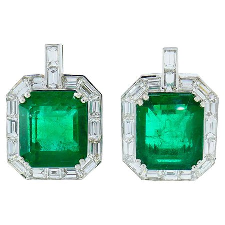 Emerald AGL Diamond White Gold Clip Earrings For Sale at 1stDibs