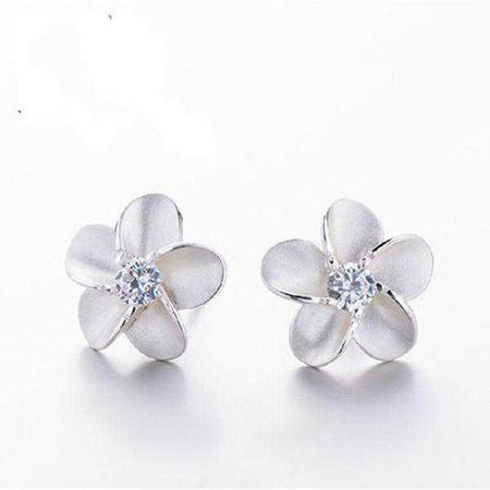 Earrings | Shop Women's Silver Plumeria Stud Earrings at Fashiontage | 7a56947b-0