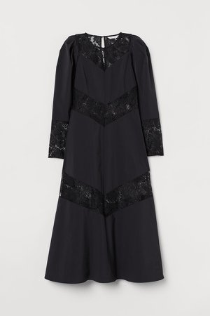 Lace-trimmed Dress - Black
