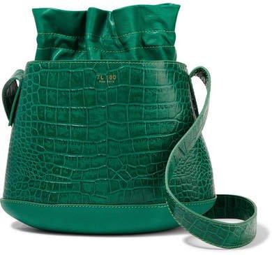 TL-180 - La Marcello Croc-effect Leather Bucket Bag - Emerald