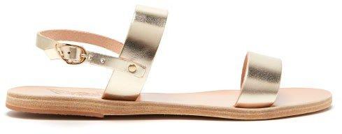Clio Metallic-leather Sandals - Gold