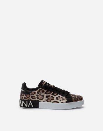 Portofino Sneakers In Leopard-Print Calfskin Nappa