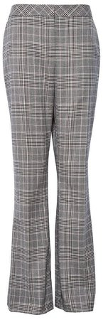 Grey Check Print Bootcut Trousers