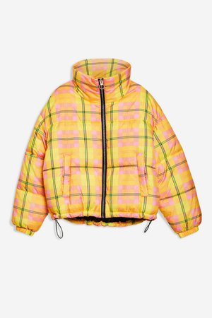 Bright Check Puffer Jacket | Topshop