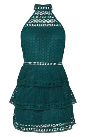 Emerald Green Lace Panel Tiered Bodycon Dress | PrettyLittleThing