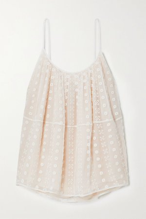 White Broderie anglaise silk-crepon camisole | Chloé | NET-A-PORTER