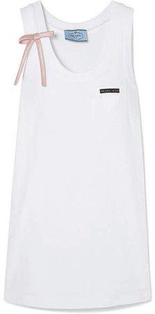 Bow-detailed Appliquéd Cotton-jersey Mini Dress - White