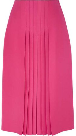 Pleated Silk And Wool-blend Midi Skirt - Pink
