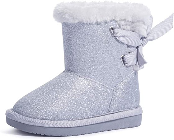 Amazon.com | KRABOR Girls Glitter Snow Boots Cotton Lining Warm Winter Non-Slip Shoes with Cute Bow for Toddlers/Little Kid | Boots