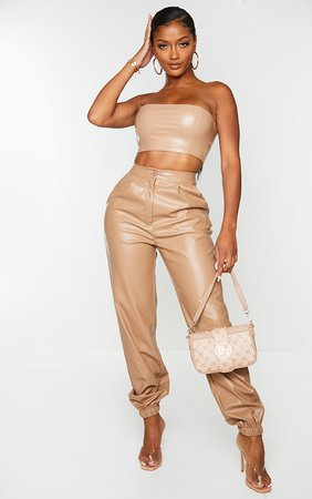 Shape Taupe Faux Leather Joggers | PrettyLittleThing USA