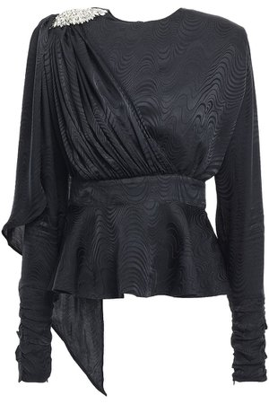 Black Grace crystal-embellished draped silk-jacquard peplum top | Sale up to 70% off | THE OUTNET | DODO BAR OR | THE OUTNET