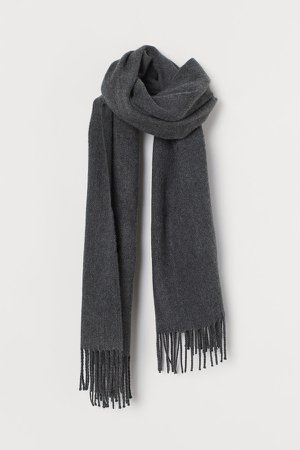 Scarf with Fringe - Gray