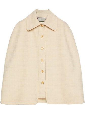 White Gucci detachable cape tweed vest - Farfetch