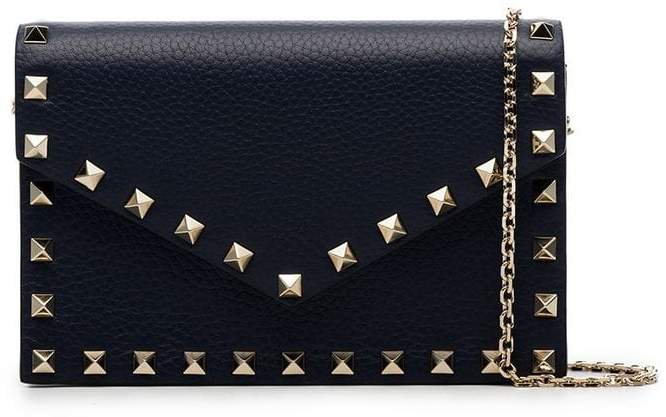 blue Rockstud leather envelope clutch