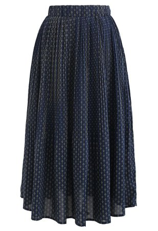 Ample Floret Pleated Chiffon Skirt in Navy - Retro, Indie and Unique Fashion