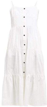 Tiered Cotton Poplin Midi Dress - Womens - Ivory