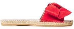 Bow-embellished Suede Espadrille Slides