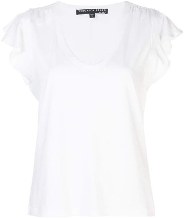 ruffled-sleeves V-neck T-shirt