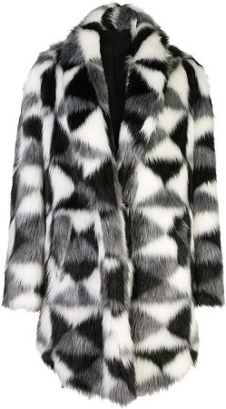 geometric-print asymmetric coat
