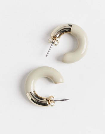 & Other Stories hooped earrings with pink detail in gold | ASOS