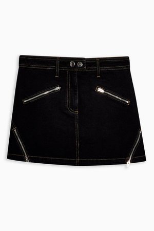 Black Zip Front Pelmet Denim Skirt | Topshop