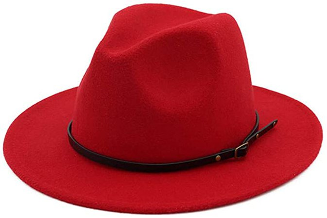 HUDANHUWEI Women's Classic Wide Brim Fedora Hat with Belt Buckle Felt Panama Hat Z2-Red at Amazon Women's Clothing store