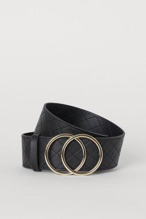 Quilted Waist Belt - Black