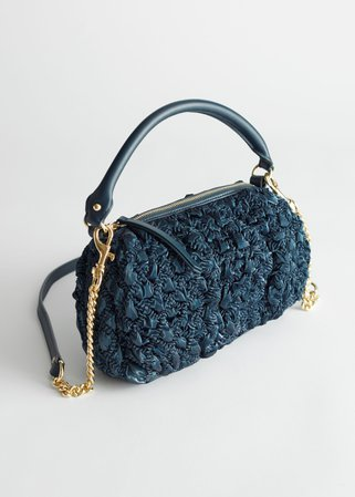 Ruched Metallic Sheen Bag - Dark Blue - Shoulderbags - & Other Stories