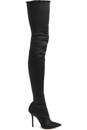 Vetements | Frayed satin thigh boots | NET-A-PORTER.COM