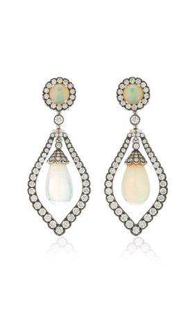 G-One 18k White Gold Opal, Diamond Earrings By Goshwara   Moda Operandi