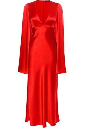 red versace silk dress