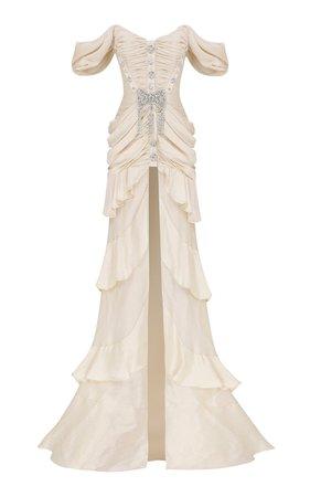 Embellished Off-The-Shoulder Gown by Raisa Vanessa | Moda Operandi