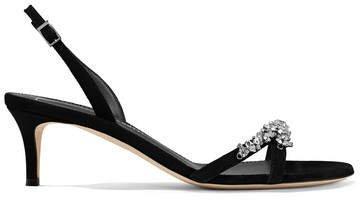 Crystal-embellished Suede Slingback Sandals - Black