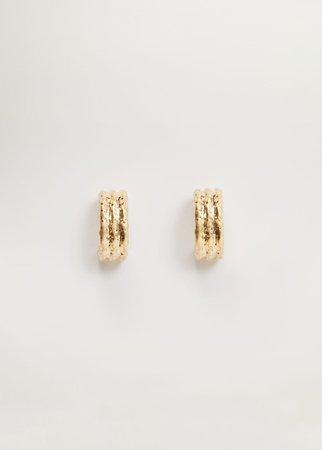 Metallic hoop earrings - Women | Mango USA