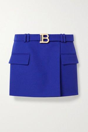 Royal blue Belted wool-crepe mini skirt | Balmain | NET-A-PORTER