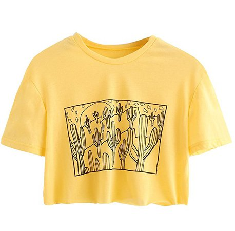 SweatyRocks Women's Cactus Print Crop Top Summer Short Sleeve T-Shirts Yellow S at Amazon Women's Clothing store: