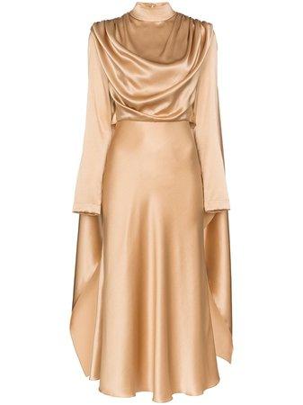 Neutral Matériel Draped Silk Dress | Farfetch.com
