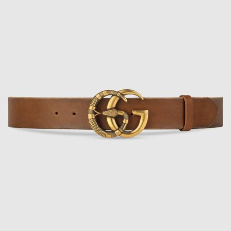 Brown Leather Leather belt with Double G buckle with snake | GUCCI® US