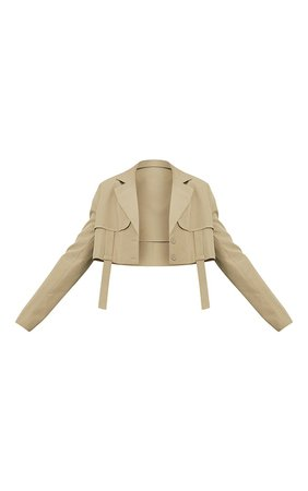 Khaki Woven Panel Detail Shoulder Padded Cropped Blazer | PrettyLittleThing USA