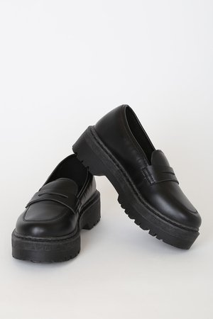 Chic Black Loafers - Flatform Loafers - Vegan Leather Shoes - Lulus