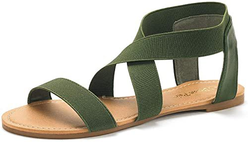 Amazon.com | DREAM PAIRS Women's Elatica Elastic Ankle Strap Flat Sandals | Flats