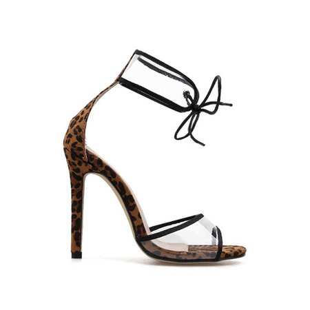 JESSICABUURMAN – VIRGE Lace Up Leopard Printed PVC And Suede High Heel Sandals