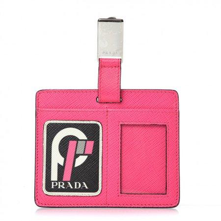PRADA Saffiano Logo Badge Holder Fuchsia 391857