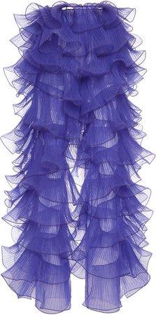 Alberta Ferretti Ruffled Silk Pants