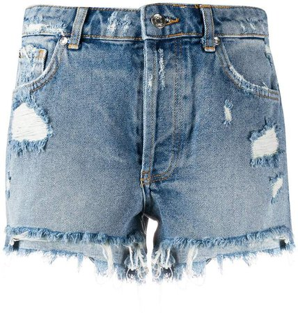 distressed ripped detail shorts