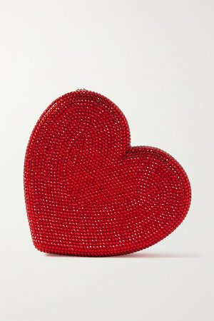 Red Heart crystal-embellished silver-tone clutch | Judith Leiber Couture | NET-A-PORTER
