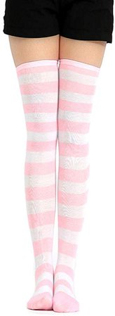 Amazon.com: COSPROFE Japanese Women's Over Knee Striped Socks Thigh High Long Casual Tube Cosplay Stockings (Pink+White Wide): Gateway