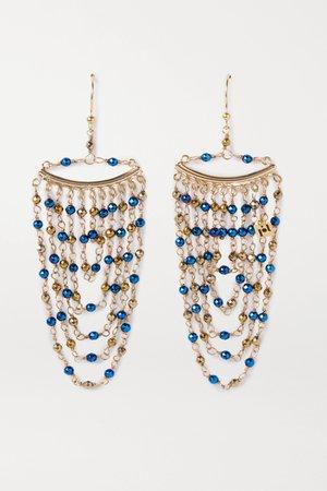 Blue Aurora gold-tone beaded earrings   Rosantica   NET-A-PORTER
