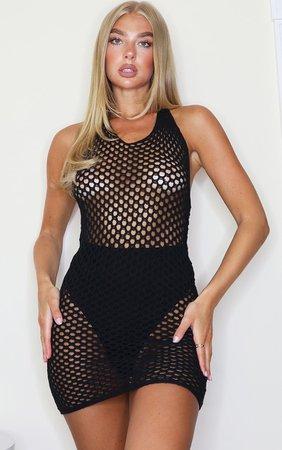 Black Tie Back Crochet Knitted Mini Dress   PrettyLittleThing